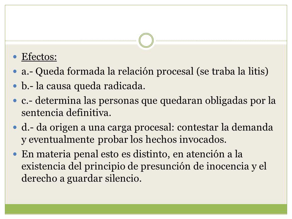 Efectos: a.- Queda formada la relación procesal (se traba la litis) b.- la causa queda radicada.