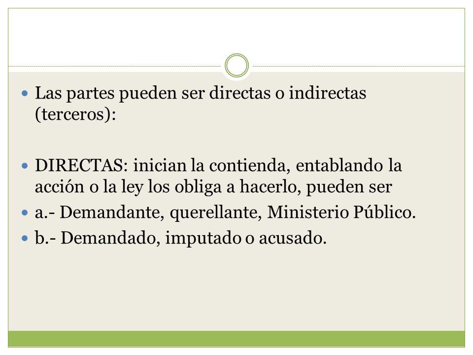 Las partes pueden ser directas o indirectas (terceros):
