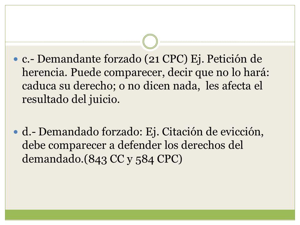 c. - Demandante forzado (21 CPC) Ej. Petición de herencia