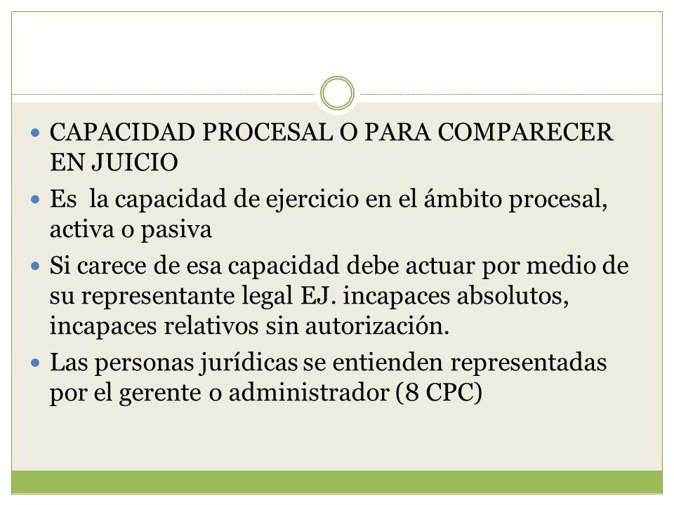 CAPACIDAD PROCESAL O PARA COMPARECER EN JUICIO