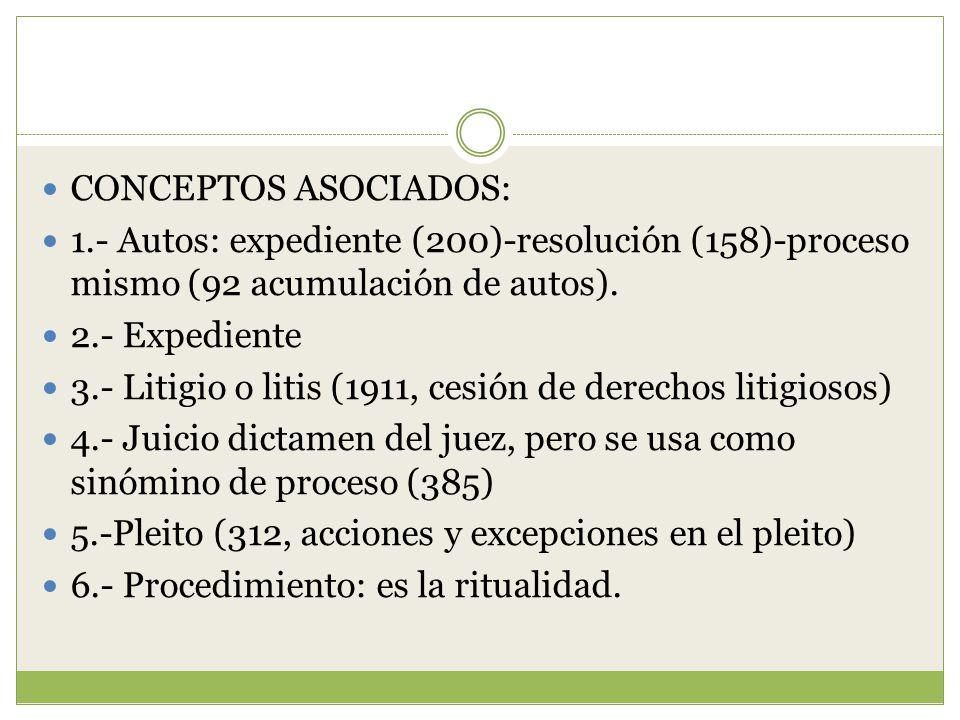 CONCEPTOS ASOCIADOS: 1.- Autos: expediente (200)-resolución (158)-proceso mismo (92 acumulación de autos).