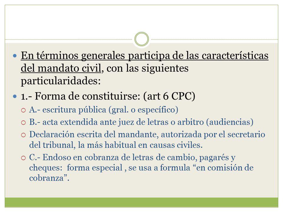 1.- Forma de constituirse: (art 6 CPC)