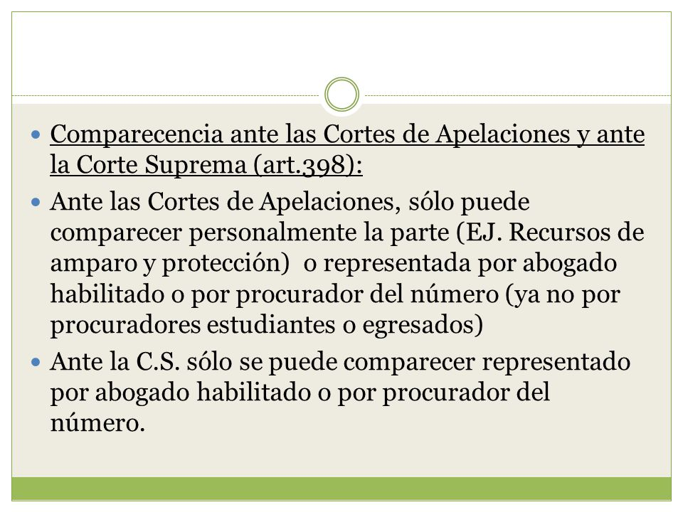 Comparecencia ante las Cortes de Apelaciones y ante la Corte Suprema (art.398):