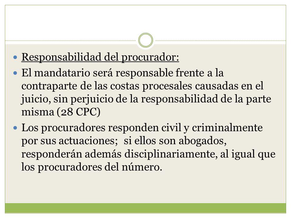 Responsabilidad del procurador: