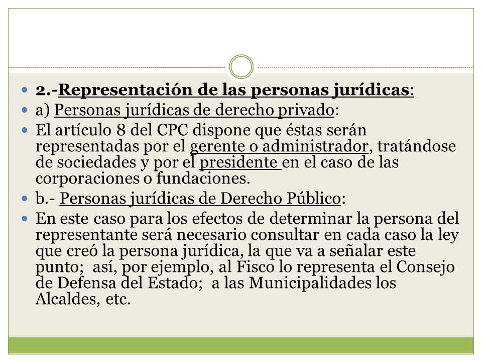 2.-Representación de las personas jurídicas: