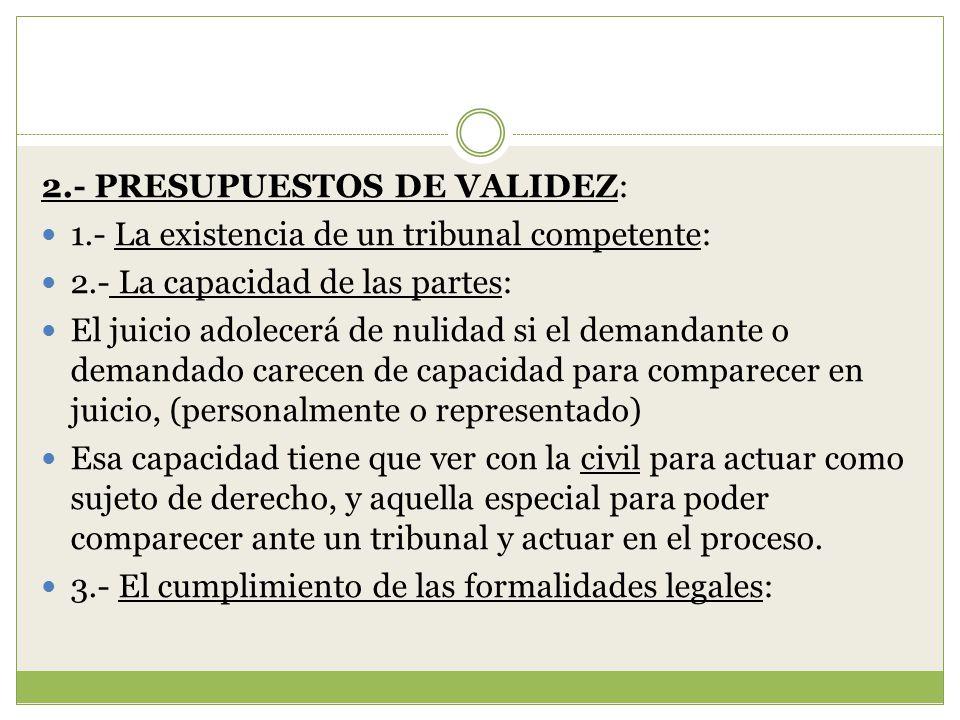 2.- PRESUPUESTOS DE VALIDEZ: