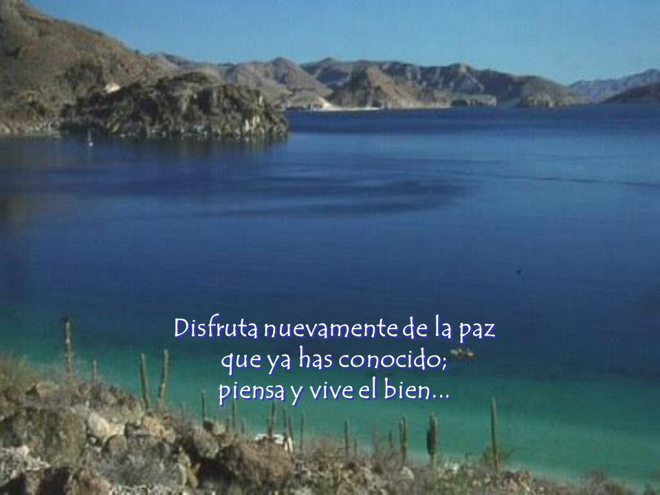 Disfruta nuevamente de la paz que ya has conocido; piensa y vive el bien...