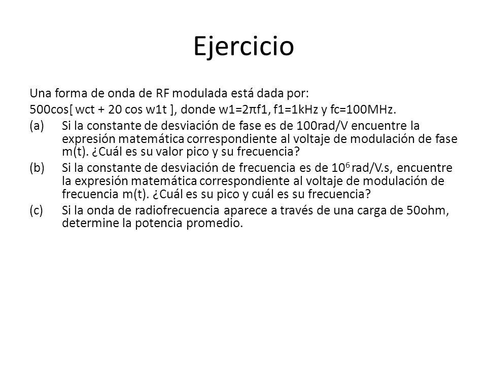 Ejercicio Una forma de onda de RF modulada está dada por: