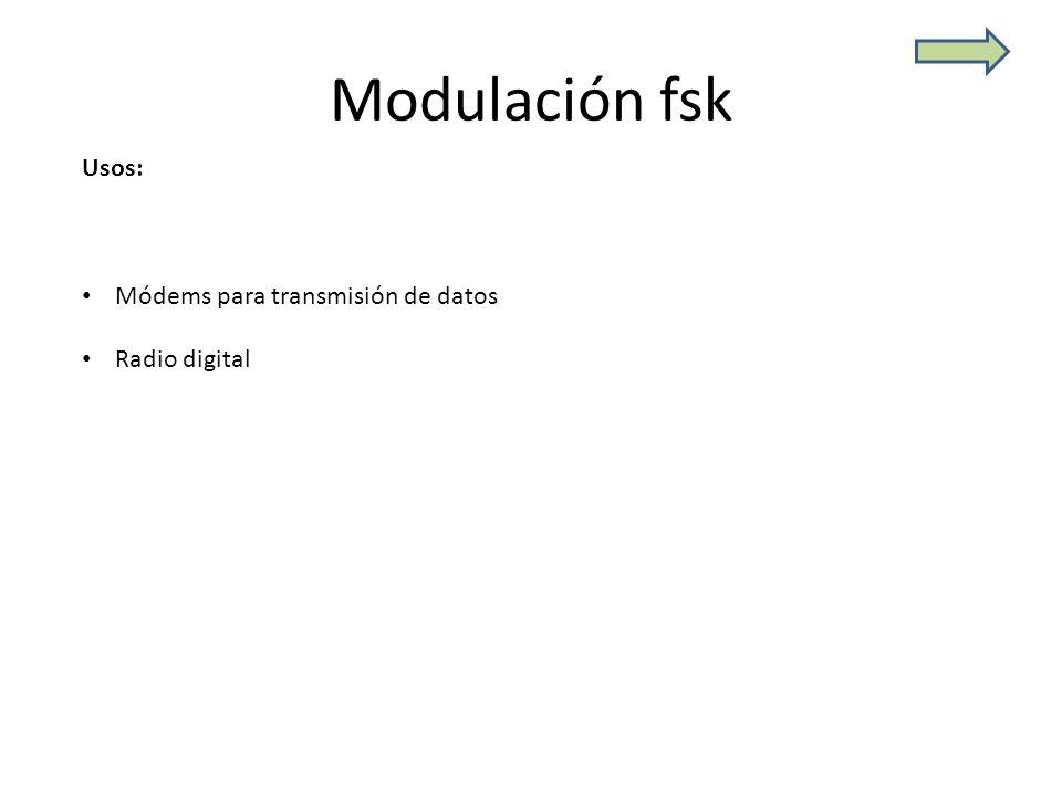 Modulación fsk Usos: Módems para transmisión de datos Radio digital