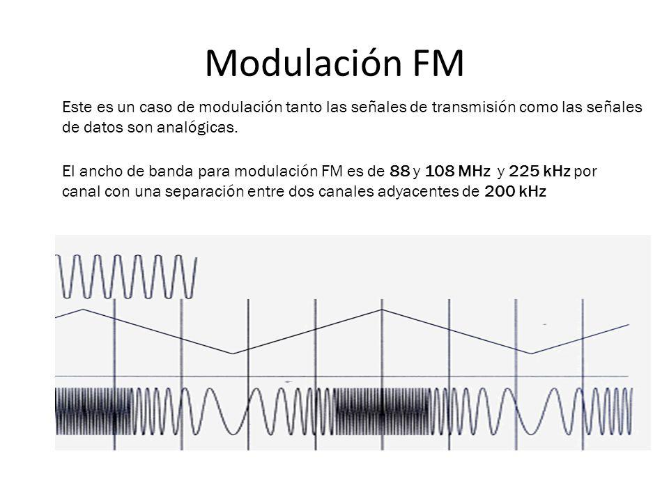 Modulación FM Este es un caso de modulación tanto las señales de transmisión como las señales de datos son analógicas.