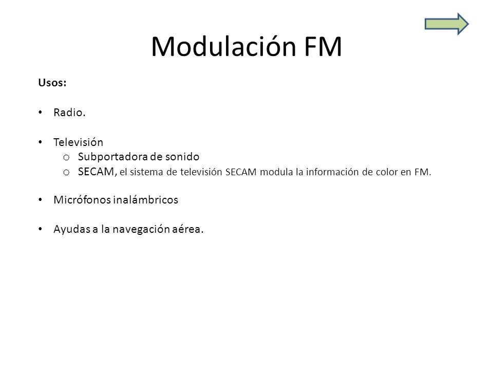 Modulación FM Usos: Radio. Televisión Subportadora de sonido