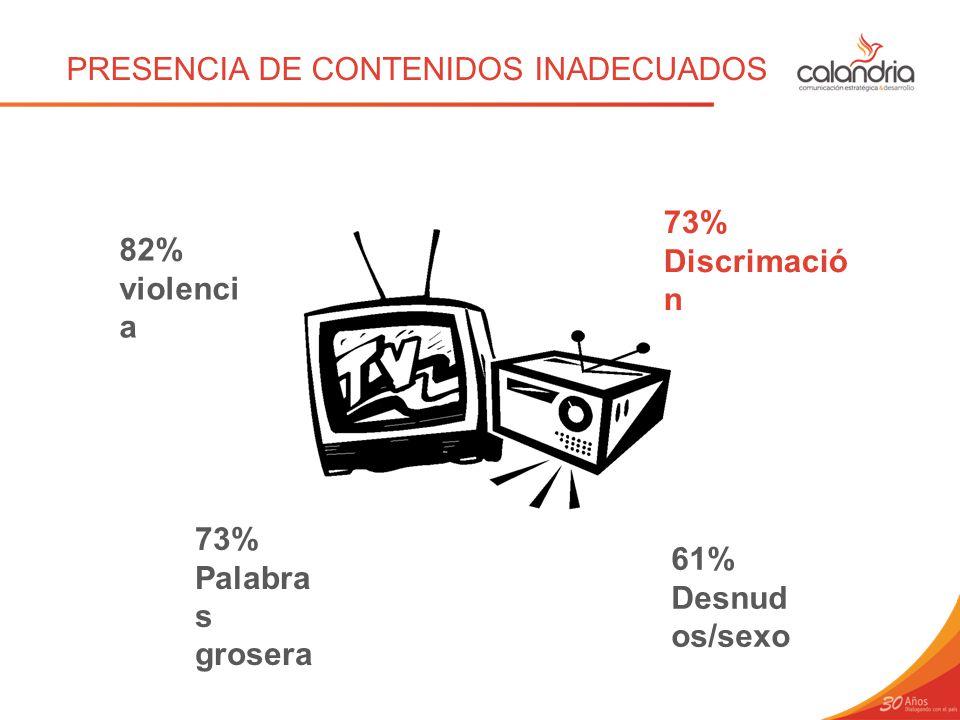 PRESENCIA DE CONTENIDOS INADECUADOS