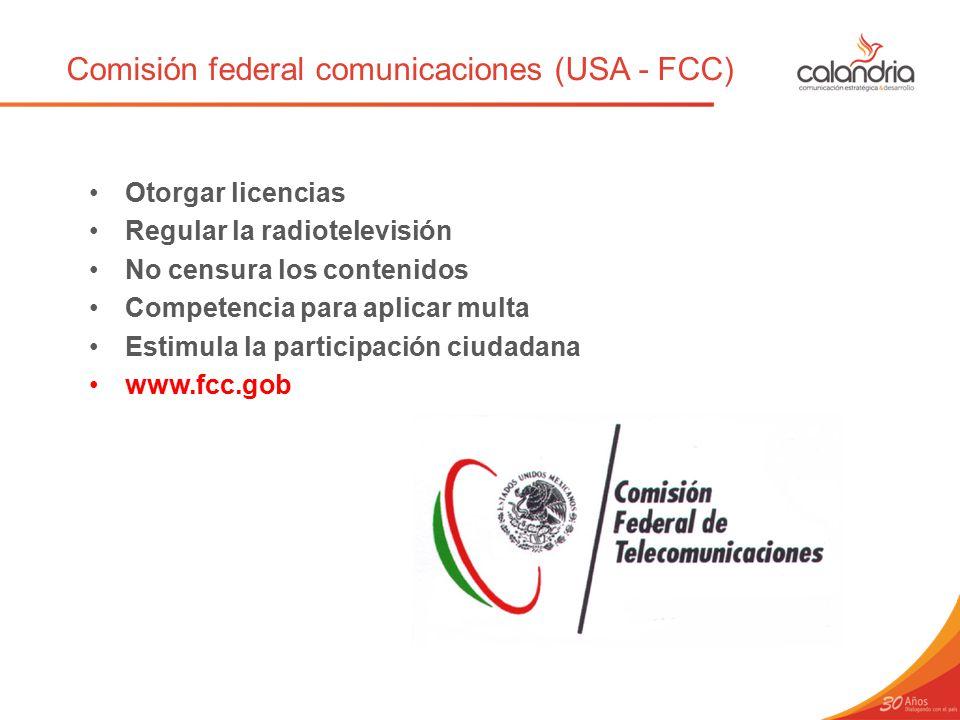 Comisión federal comunicaciones (USA - FCC)