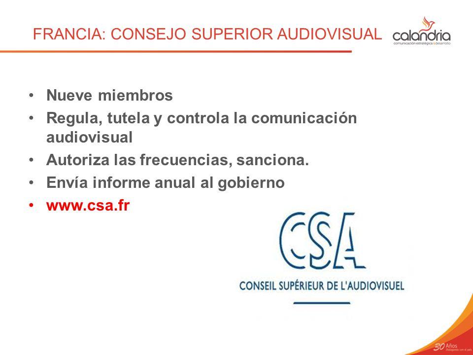 FRANCIA: CONSEJO SUPERIOR AUDIOVISUAL