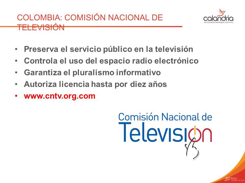 COLOMBIA: COMISIÓN NACIONAL DE TELEVISIÓN