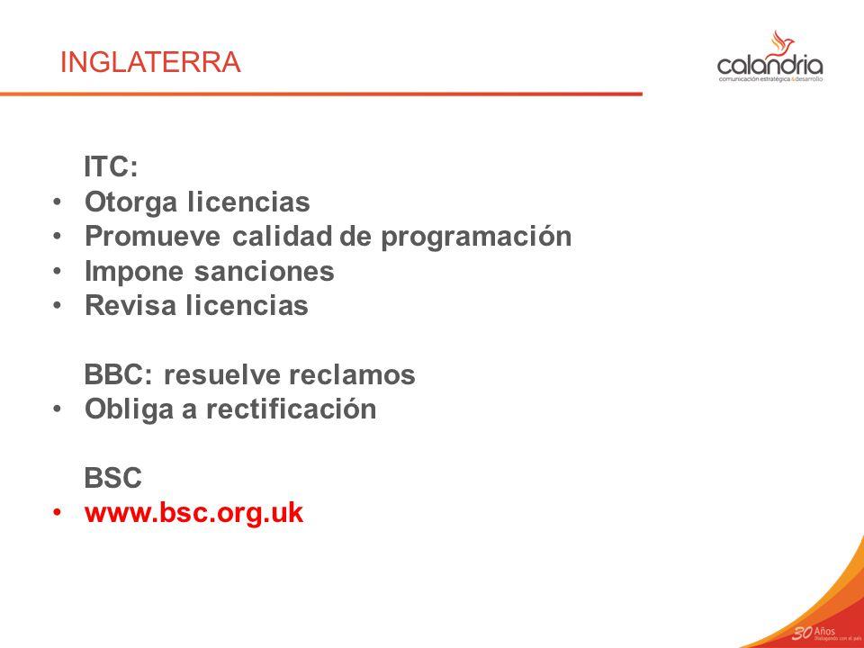 INGLATERRA ITC: Otorga licencias. Promueve calidad de programación. Impone sanciones. Revisa licencias.