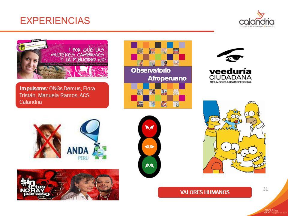 EXPERIENCIAS Impulsores: ONGs Demus, Flora Tristán, Manuela Ramos, ACS Calandria VALORES HUMANOS