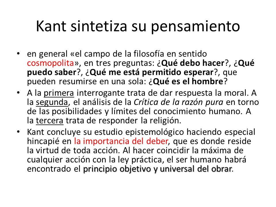 Kant sintetiza su pensamiento