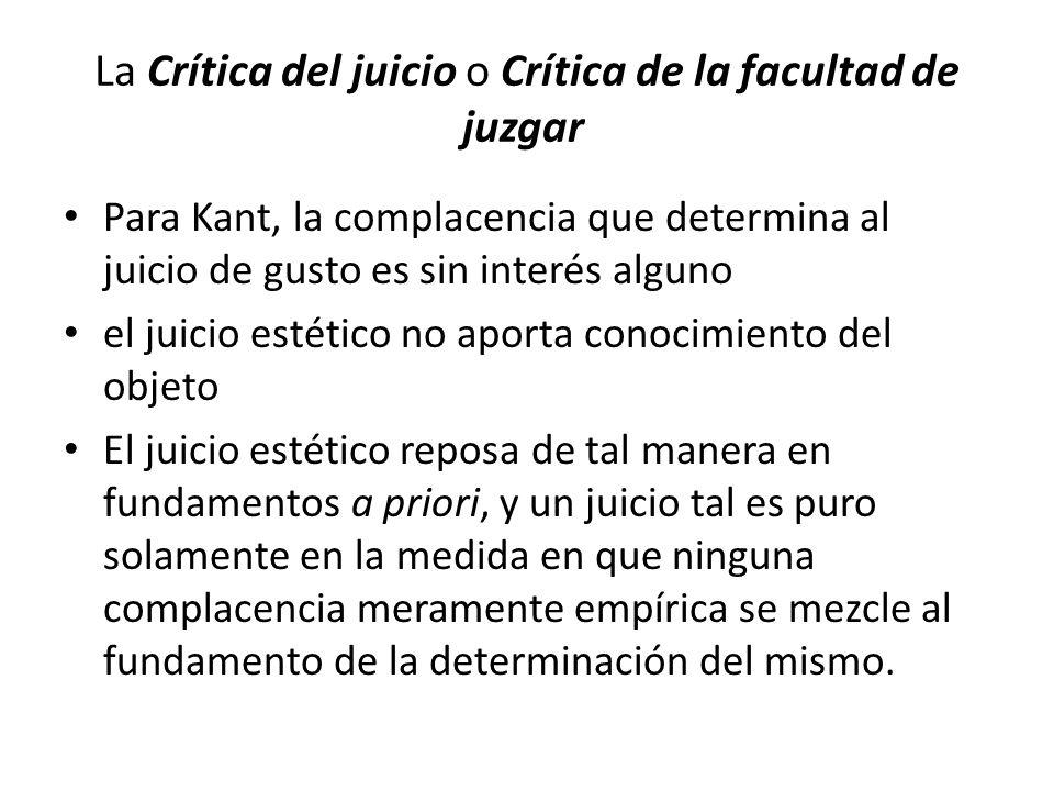 La Crítica del juicio o Crítica de la facultad de juzgar