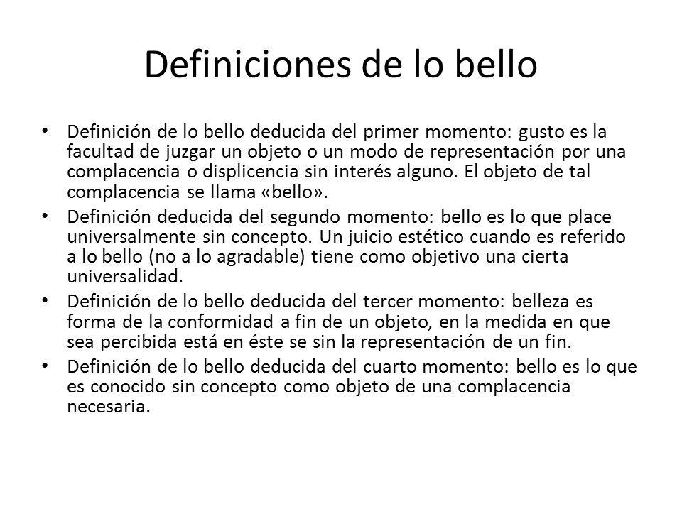 Definiciones de lo bello