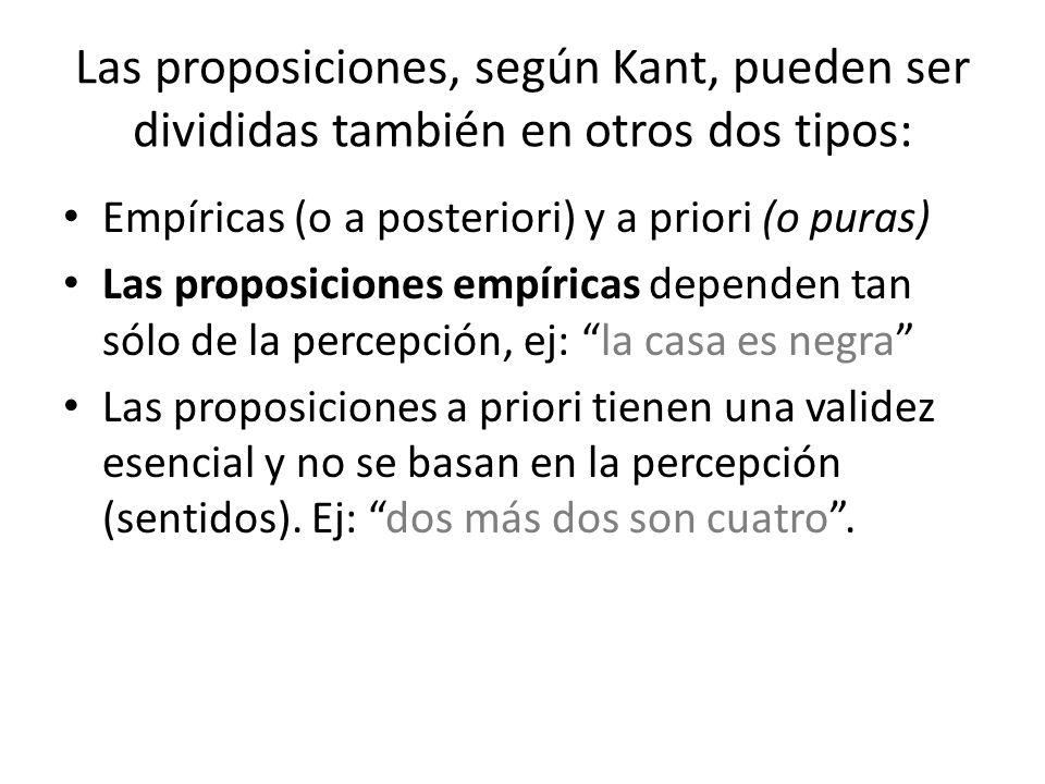 Las proposiciones, según Kant, pueden ser divididas también en otros dos tipos: