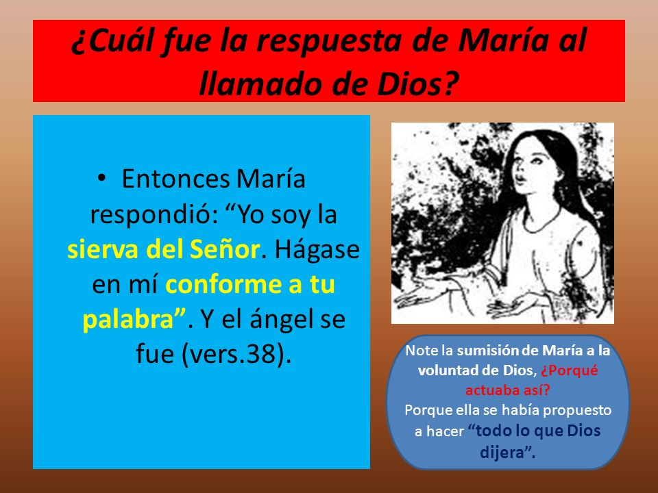 ¿Cuál fue la respuesta de María al llamado de Dios