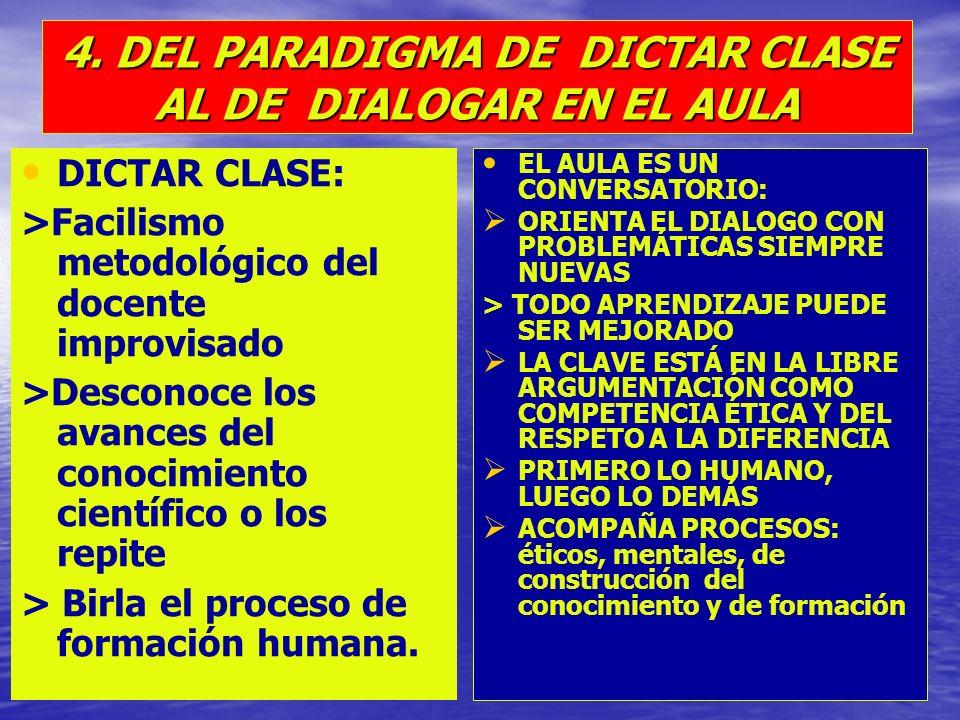 4. DEL PARADIGMA DE DICTAR CLASE AL DE DIALOGAR EN EL AULA