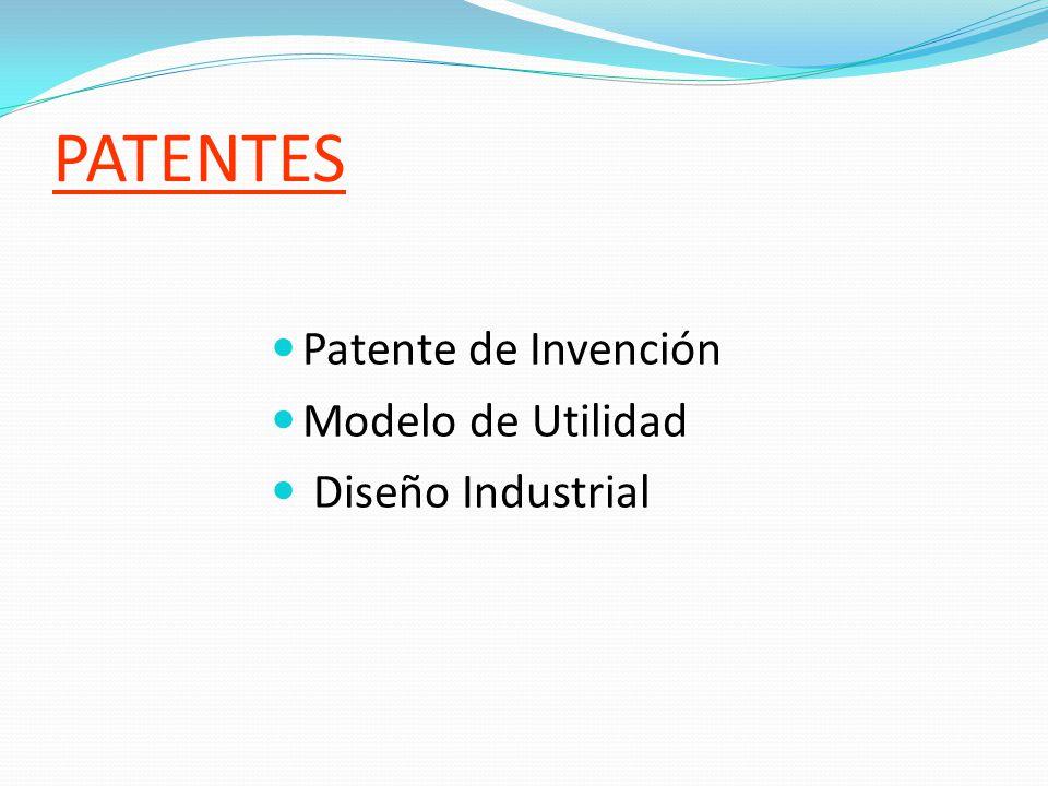 PATENTES Patente de Invención Modelo de Utilidad Diseño Industrial