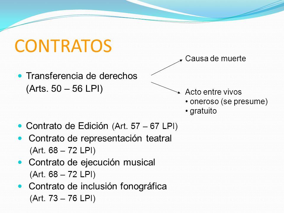CONTRATOS Transferencia de derechos (Arts. 50 – 56 LPI)
