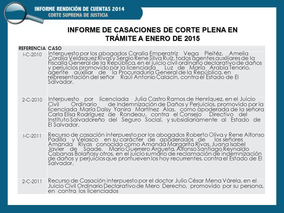 INFORME DE CASACIONES DE CORTE PLENA EN TRÁMITE A ENERO DE 2015
