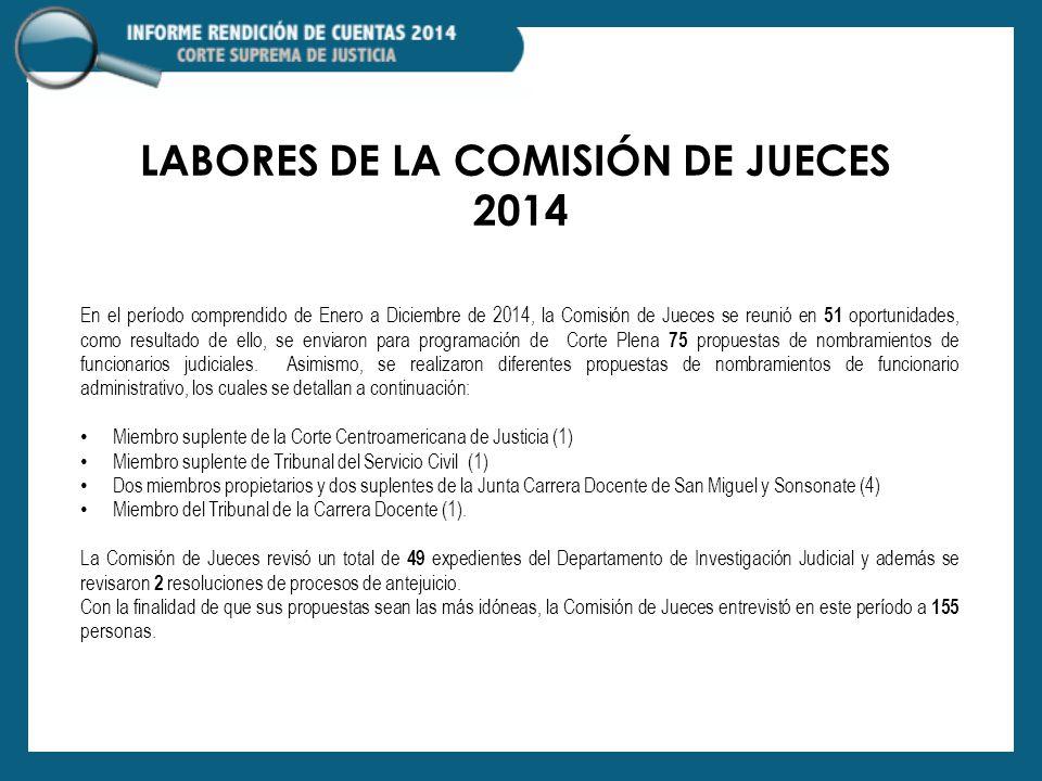 LABORES DE LA COMISIÓN DE JUECES 2014