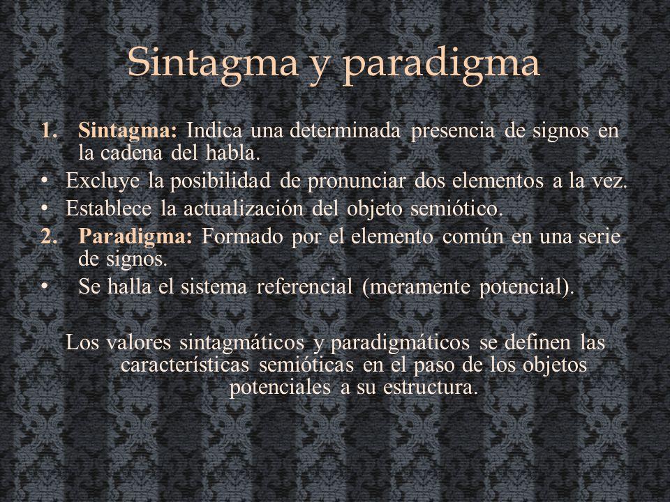 Sintagma y paradigma Sintagma: Indica una determinada presencia de signos en la cadena del habla.