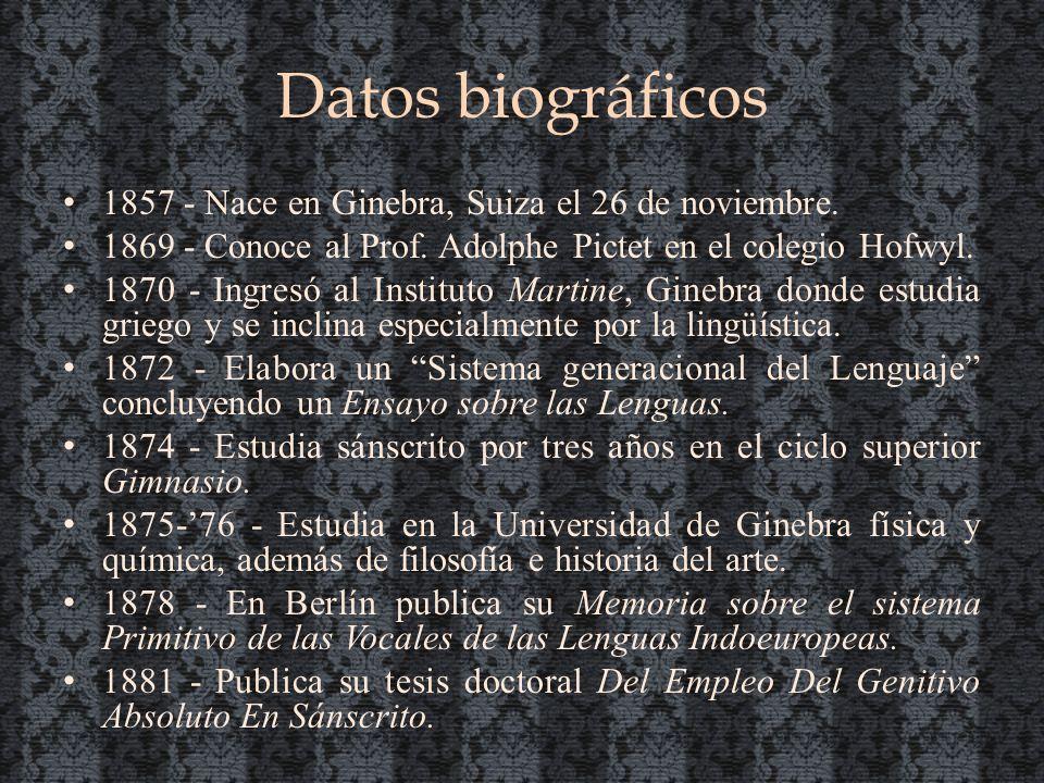 Datos biográficos 1857 - Nace en Ginebra, Suiza el 26 de noviembre.