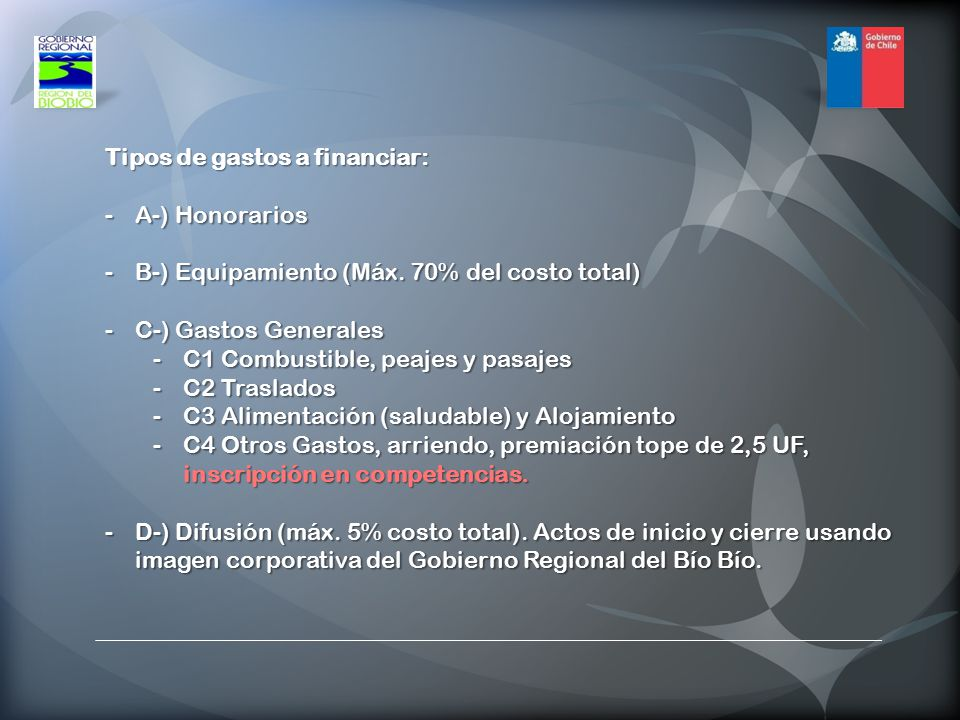 Tipos de gastos a financiar: