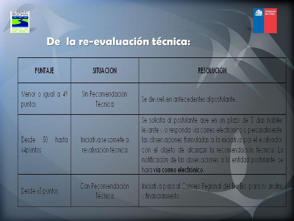 De la re-evaluación técnica: