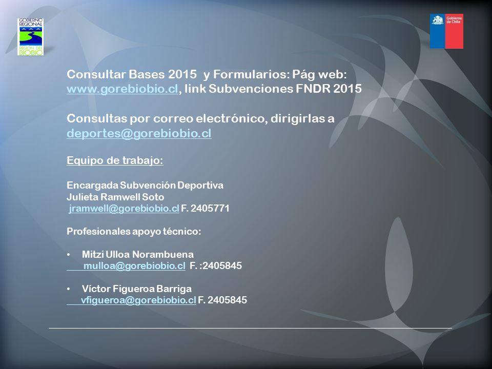 Consultas por correo electrónico, dirigirlas a deportes@gorebiobio.cl