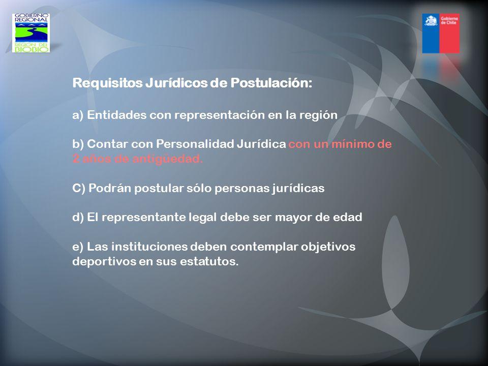 Requisitos Jurídicos de Postulación: a) Entidades con representación en la región b) Contar con Personalidad Jurídica con un mínimo de 2 años de antigüedad.