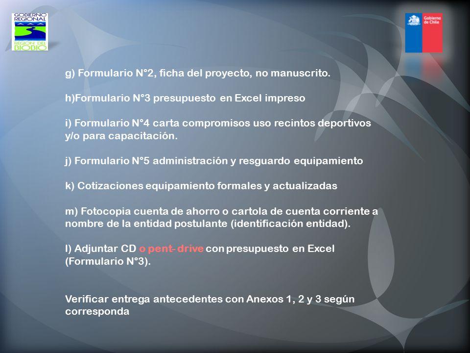 g) Formulario N°2, ficha del proyecto, no manuscrito