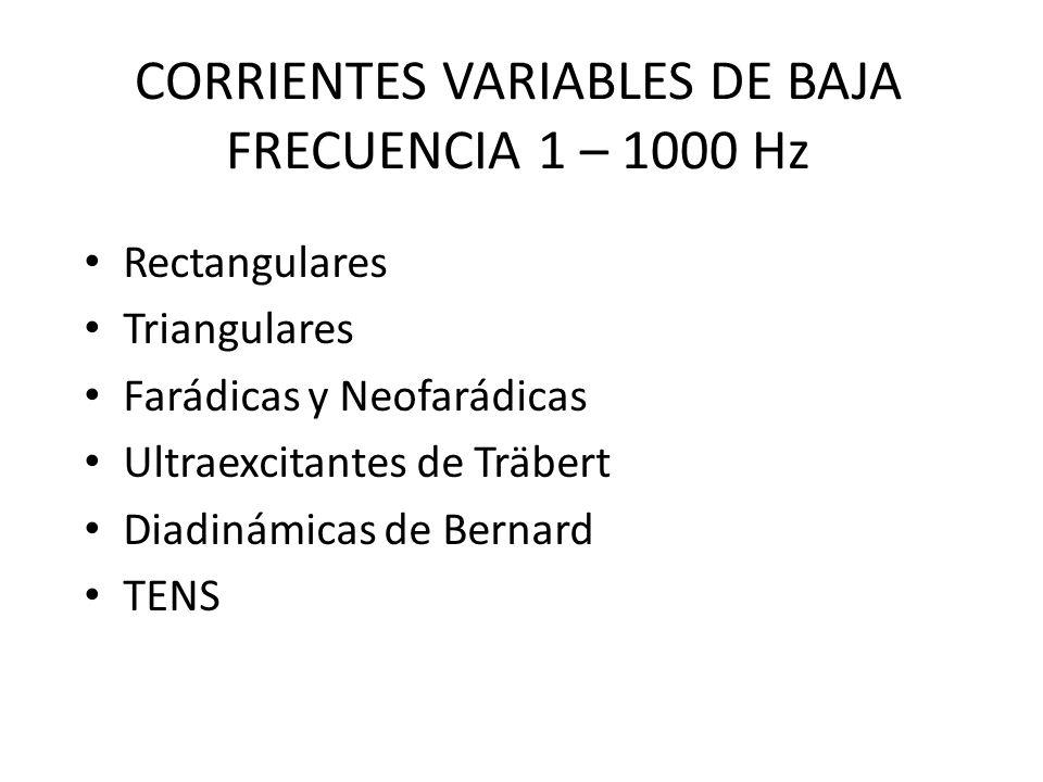 CORRIENTES VARIABLES DE BAJA FRECUENCIA 1 – 1000 Hz
