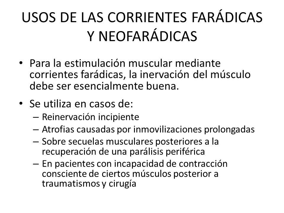 USOS DE LAS CORRIENTES FARÁDICAS Y NEOFARÁDICAS