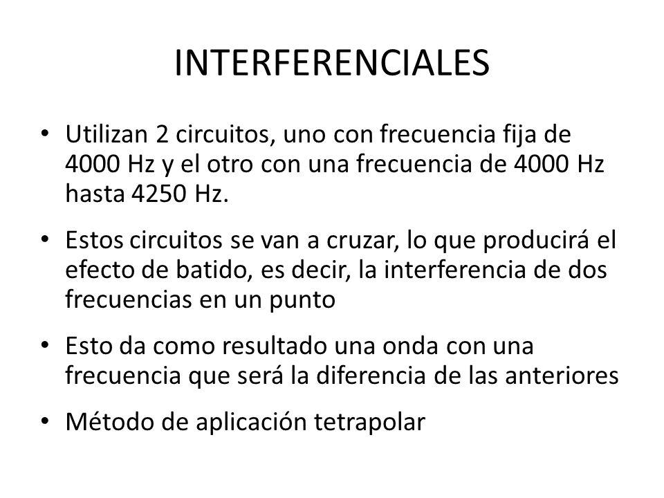 INTERFERENCIALES Utilizan 2 circuitos, uno con frecuencia fija de 4000 Hz y el otro con una frecuencia de 4000 Hz hasta 4250 Hz.