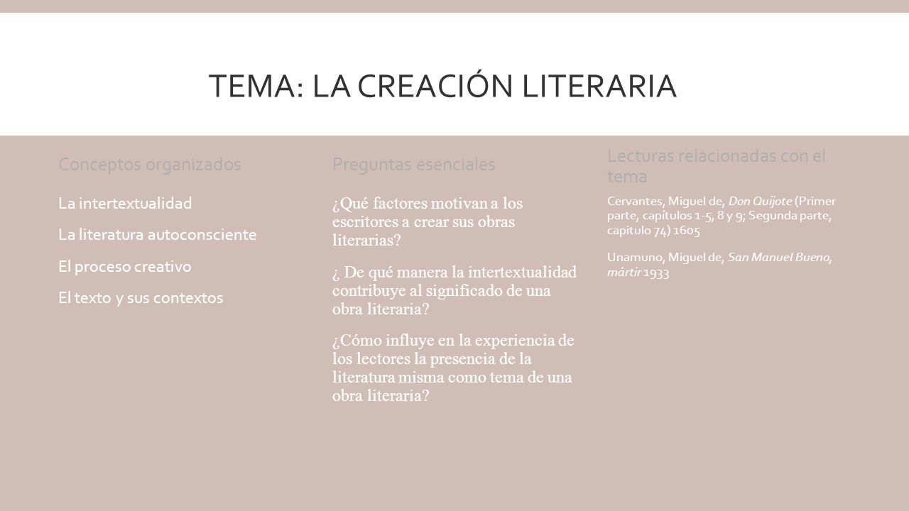 Tema: La creación literaria