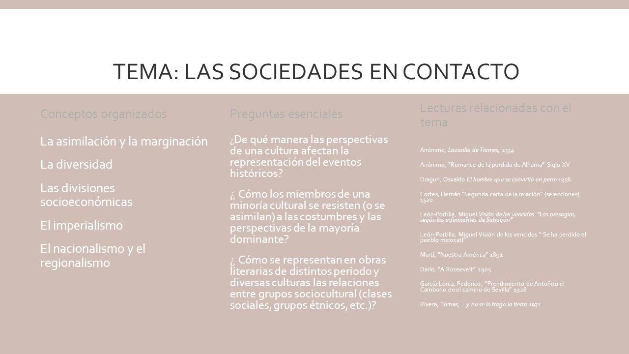Tema: las sociedades en contacto