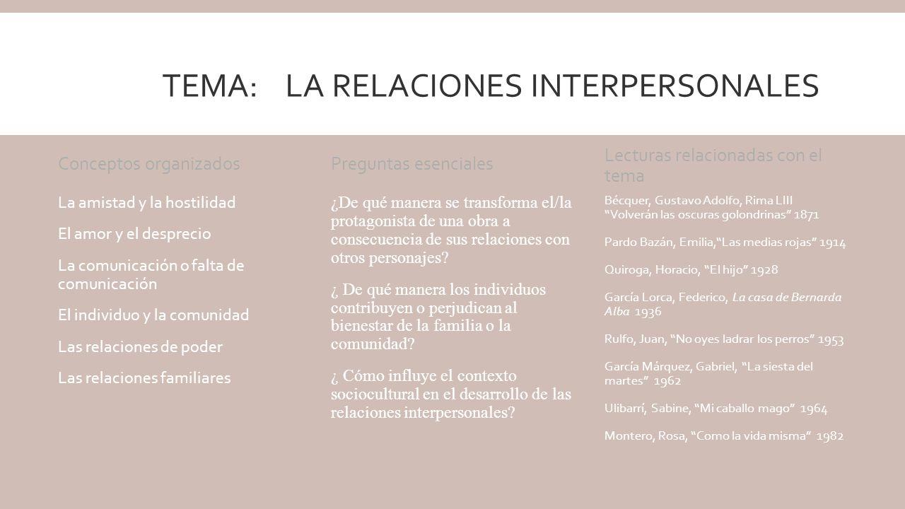 Tema: La relaciones interpersonales