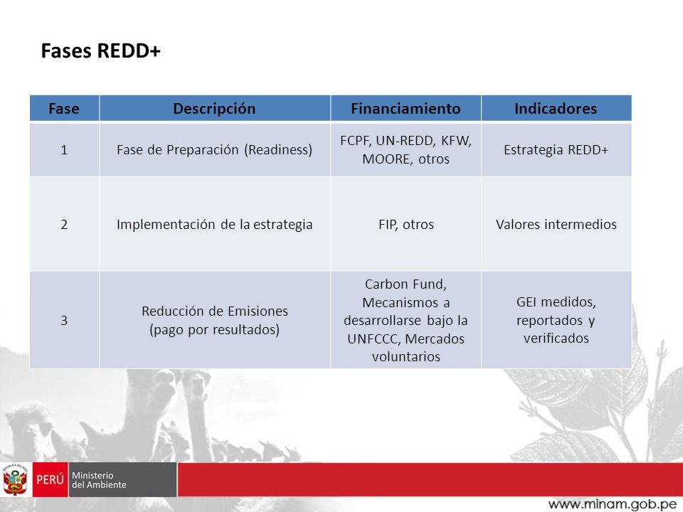 Fases REDD+ Fase Descripción Financiamiento Indicadores 1
