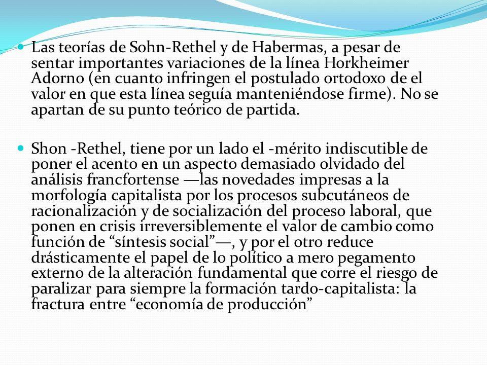 Las teorías de Sohn-Rethel y de Habermas, a pesar de sentar importantes variaciones de la línea Horkheimer Adorno (en cuanto infringen el postulado ortodoxo de el valor en que esta línea seguía manteniéndose firme). No se apartan de su punto teórico de partida.