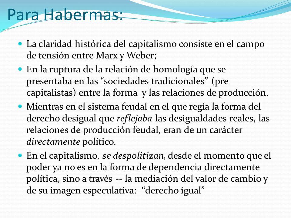 Para Habermas:La claridad histórica del capitalismo consiste en el campo de tensión entre Marx y Weber;