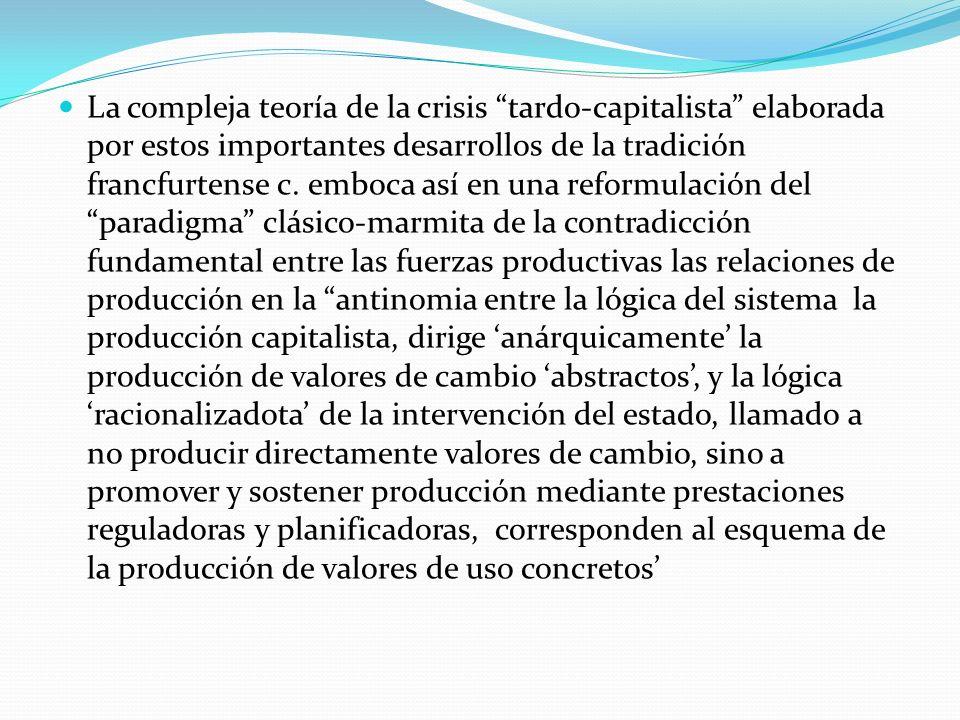 La compleja teoría de la crisis tardo-capitalista elaborada por estos importantes desarrollos de la tradición francfurtense c.