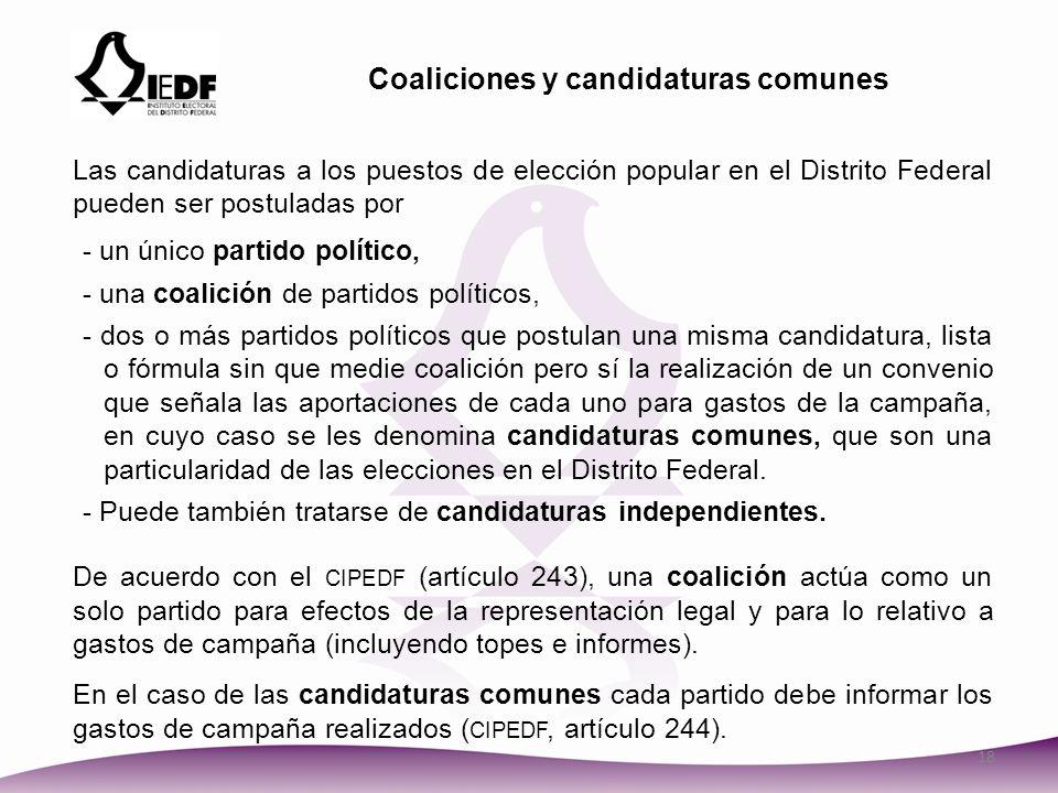 Coaliciones y candidaturas comunes