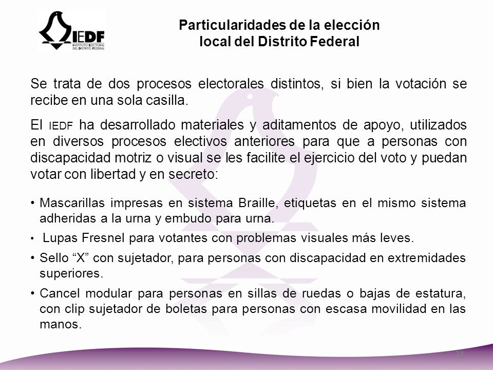 Particularidades de la elección local del Distrito Federal